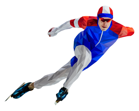 athlete skater in speed skating low poly color silhouette Illustration