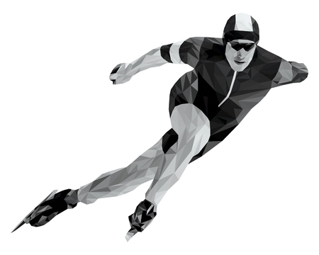 Athlete skater in speed skating black and white low poly. Illustration