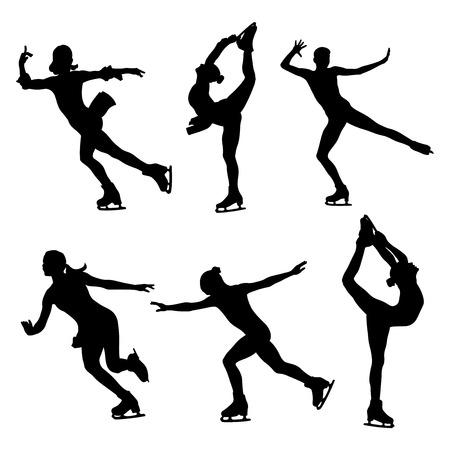 Zestaw w Łyżwiarstwie Figurowym kobiet łyżwiarze czarna sylwetka na białym tle na prostym tle.