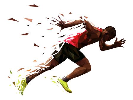 biegacz sportowiec sprint rozpocząć wybuchowy bieg ilustracji wektorowych