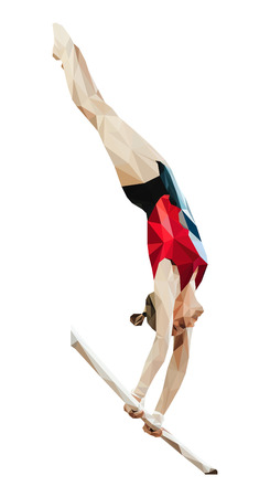 A female gymnast in uneven bar.