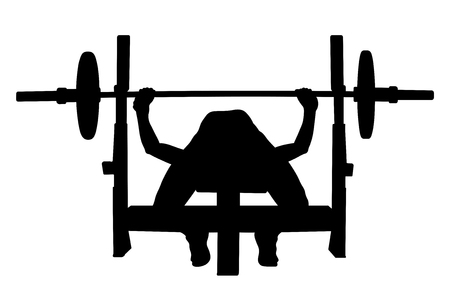 female athlete powerlifter bench press black silhouette Vectores