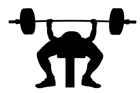 male athlete powerlifter bench press black silhouette Stock Illustratie