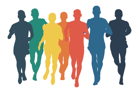group runners men run colored silhouettes in flat design style Vector illustration. Ilustração