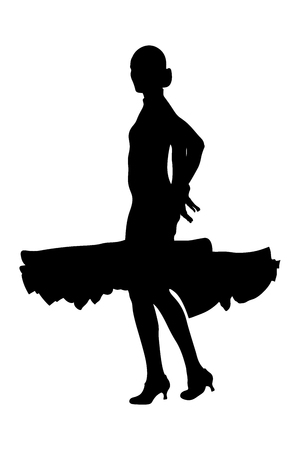 ballroom dancing silhouette of woman dancer in ball gown Vector illustration. Illustration