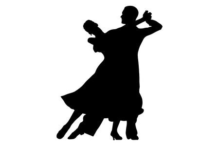 Ballroom dancing black silhouette pair women and men dancer 向量圖像