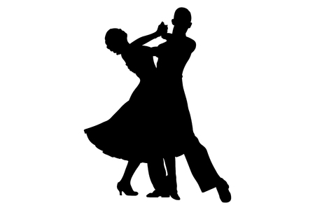 couple of dancers black silhouette on competition in ballroom dancing Vectores