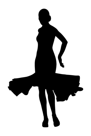 back woman dancer in ball gown black silhouette