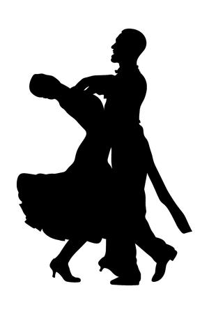 pair dancers man and woman ballroom dancing black silhouette