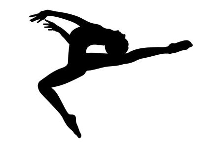 Female gymnast silhouette Vectores
