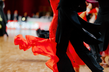 red ball gown and black tailcoat couples dancers ballroom dancing