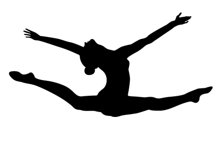Split leap exercise gymnast woman black silhouette
