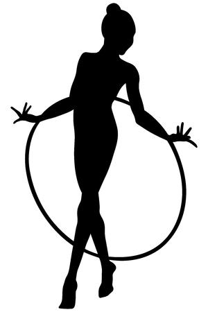 A rhythmic gymnasts with hoops girl gymnast isolated on plain background.