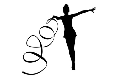 exercise with ribbon rhythmic gymnastics girl black silhouette Vectores