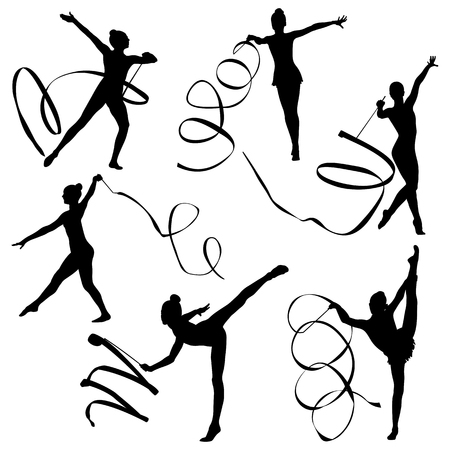 Set rhythmic gymnastics women gymnasts exercise with ribbon Vectores