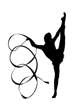 girl gymnast exercise with ribbon in vertical split black silhouette