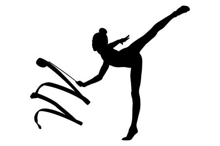 girl gymnast black silhouette exercise ribbon in rhythmic gymnastics Ilustração