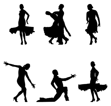 set dancers black silhouettes sports ballroom dancing