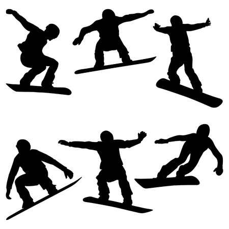 set athletes snowboarders black silhouette snowboard competition