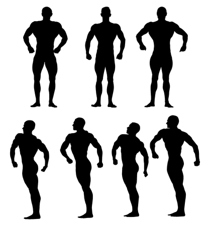 set athletes bodybuilders black silhouette bodybuilding competition Illustration