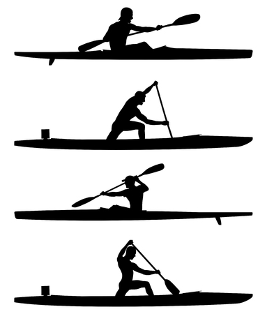 set rowers kayak and canoe black silhouettes boating competition