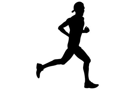 athlete runner in cap on head and glasses running black silhouette