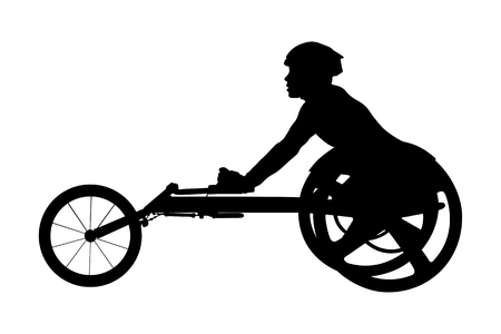 disabled athlete racer on wheelchair racing black silhouette Çizim