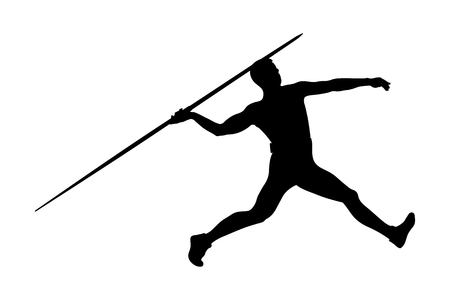 athlete javelin thrower for track and field competition javelin throw Illustration