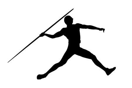 Speer werfen Mann Athlet in der Leichtathletik schwarze Silhouette