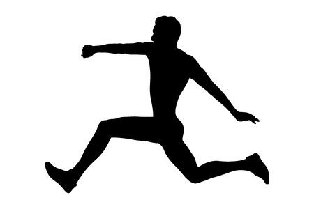 triple jump man athlete jumper black silhouette
