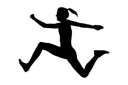 triple jump woman athlete jumper black silhouette  イラスト・ベクター素材