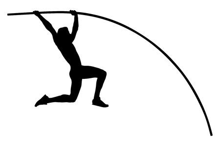 pole vault male athlete jump on competition Çizim