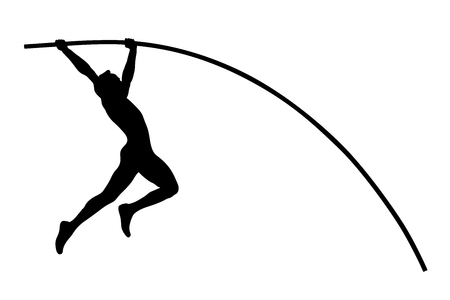 pole vault athlete jumper black silhouette Archivio Fotografico - 110488497