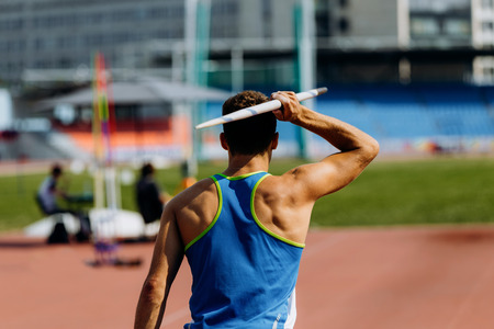 javelin throw back athlete javelin thrower attempt in competition