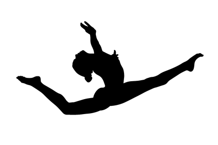graceful split leap female gymnast in artistic gymnastics