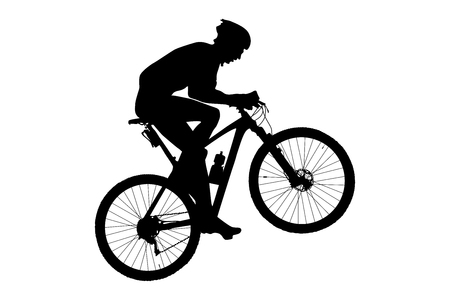 man cyclist mountain biker riding uphill black silhouette Illustration