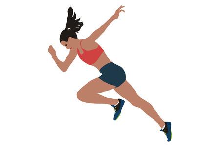 faster start running woman sprinter runner flat silhouette Illustration
