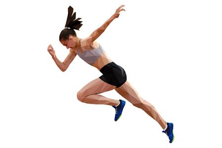 faster start running woman sprinter runner polygonal silhouette