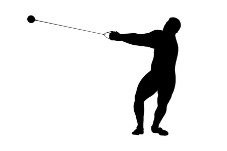 hammer throw male athlete black silhouette