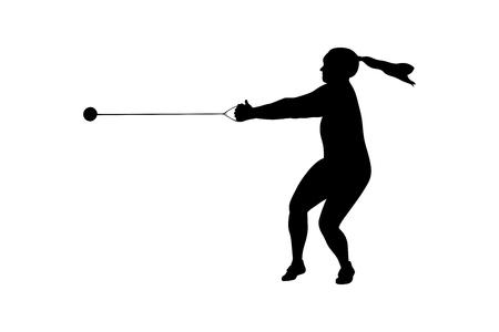 Hammerwurf Sportlerin schwarze Silhouette