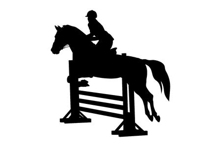 paardensport vrouwelijke ruiter paard springconcours Vector Illustratie
