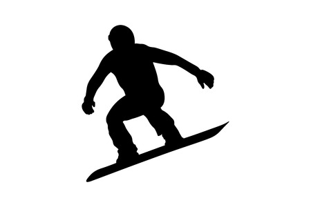 male snowboarder jumping on snowboard black silhouette Banque d'images - 127210368
