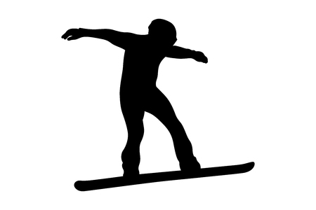 winter sport snowboarding rider in snowboard black silhouette Banque d'images - 127210369