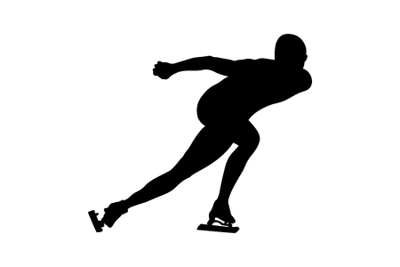 speed skating man athlete skater black silhouette