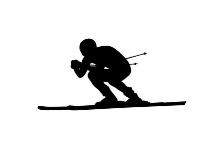 Ski Alpin Abfahrt Skifahrer Athlet schwarze Silhouette Vektorgrafik