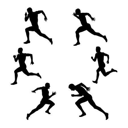 conjunto, deporte de grupo, atletismo, hombre, corredor, velocista