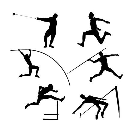 conjunto, grupo, atletas, hombres, atletismo, negro, silueta Ilustración de vector