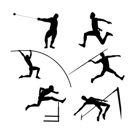 set groep atleten mannen atletiek zwart silhouet Vector Illustratie