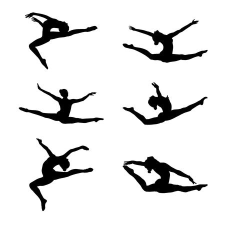 set ginnastica artistica di gruppo split salto vera ginnasta