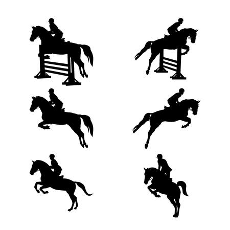 set gruppo sport equestre donne e uomini cavaliere a cavallo